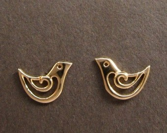 Gold Bird posts solid 14k Yellow, Rose or White gold earring studs recycled gold handmade in USA