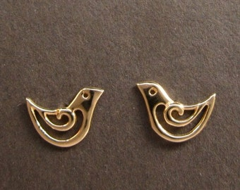 Gold Bird posts solid 14k earring studs recycled gold handmade in USA