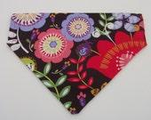 Medium Slip On Dog Bandana Reversible Dog Bandana Dog Accessories Dog Scarf Flowers Fun Colorful Dog Bandana