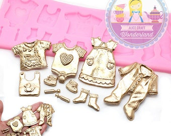 Baby dress Bodysuit Baby Shower Silicone Mold 459L Gumpaste Fondant Chocolate Melte Candy Mold Cake Cupcake Cookie DecorationBEST QUALITY