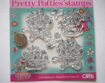 7pc Pretty Potties Clear Rubber Stamps ~ Scrapbooking, Card Making