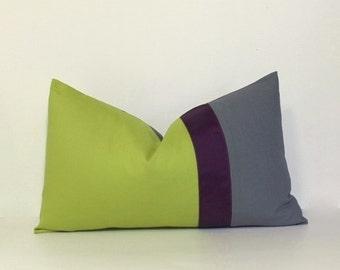 Plum + green & grey lumbar pillow cover ~ 12x20 Colorblock pillow cover. colorblock accent throw pillow, home decor accent