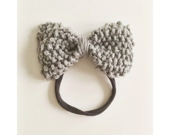 Knit Bow on Elastic band for Babies, Grey with silver specks Knit Bow Headband, Bow Baby Head Band, Newborn Knit Headband