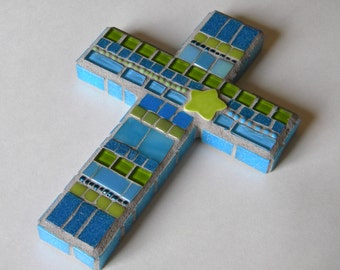 Teal Lime Green Mosaic Cross