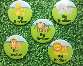 Big Brother Badge - Big Brother Pin - Animal Badge - Big Brother Gift - Brother Announcement - Baby shower - Pin Badge - New Baby