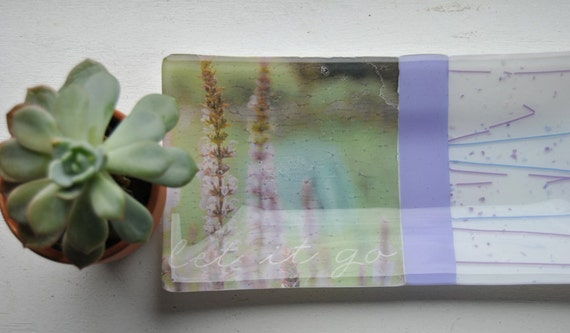"Lavender Flowers ""Let It Go"" Glass Fused Dish/Plate: Glass fused 5x10 sushi dish/plate with white and lavender/purple confetti glass"