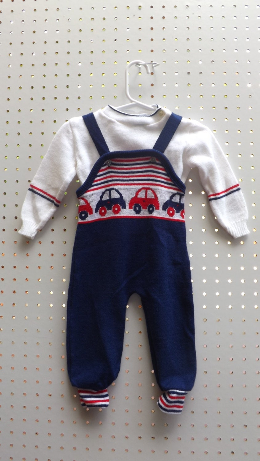 Sears Vintage Baby Boy Romper Set 1960s by SeptemberButterfly