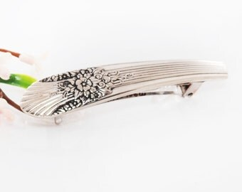 Vintage Spoon Hair Barrette - Marigold Silverware Hair Barrette - Spoon Hair Barrette - Spoon Jewelry - Silverware Hair Barrette (mcf H38)