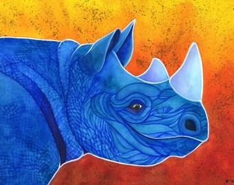 Watercolor Rhino Art Wildlife Art Print Watercolor Art Print Rhinoceros Painting Black Rhino Painting Rhino Wall Art African Animal Art