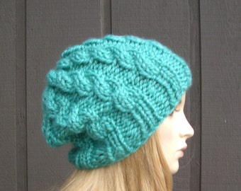 Cabled Knit Slouchy Beanie Ocean Blue Green Wool Blend