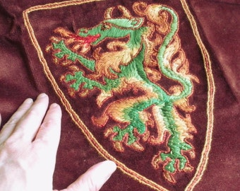 REDUCED, Hand Embroidered Appliqué, Dragon Crest, SCA or LARP, Greens and Golds with Metallic Accents, Handmade Supply, Enrich Your Project