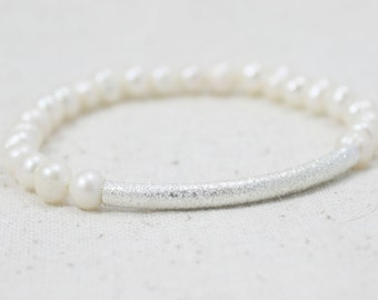 Ivory Freshwater Pearl Stretch Bracelet with Stardust Silver Plated Tube Bead / Gifts under 20