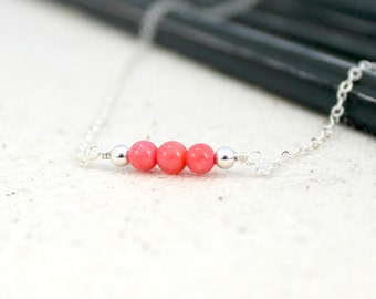 Bright Pink Bamboo Coral Three Bead Necklace / Sterling Silver Jewelry / Simple Silver Necklace / Gifts Under 25