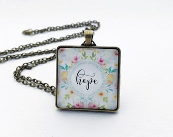 hope word glass pendant necklace bronze silver pink peach yellow flowers watercolor jewelry gift for her inspirational cancer