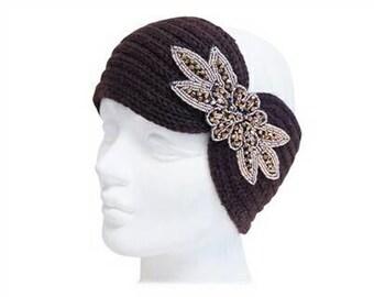 Brown Knit Beaded Turban