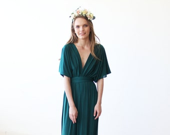 Emerald green maxi bat wings dress, Formal green maxi gown 1002