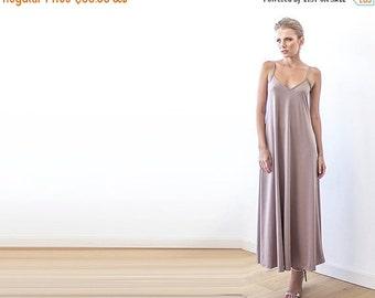 Maxi taupe straps dress, Basic lining dress
