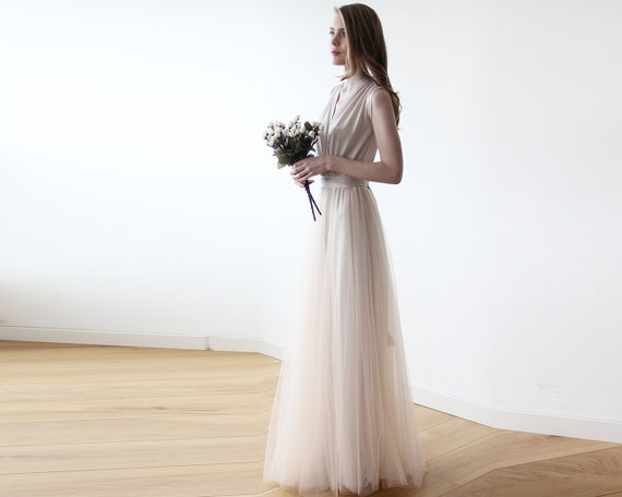 Ivory V Neck Maxi Dress Minimalist Wedding Gown: Champagne Maxi Tulle Sleeveless Gown Bridesmaids Maxi