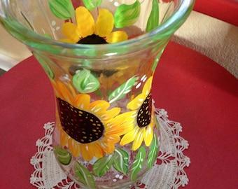 Hand Painted Sun Flower Vase