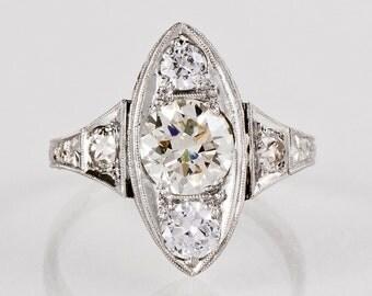 Antique Engagement Ring - Antique 1920's Art Deco Platinum 1.80ctw Diamond Engagement Ring