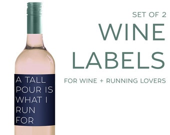 Set of (2) Wine Labels for RUNNERS [Funny gift for Running & Wine Lovers!]