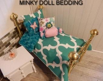 "American girl doll bedding.Jade geometric Comforter with Reversible jade Minky, 4 Decorative pillows, 18-20"" Dolls  # 149"