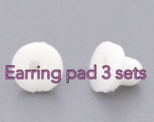 3 sets. White rubber earring pads. Will fit vintage CHANEL, HERMES earrings too.