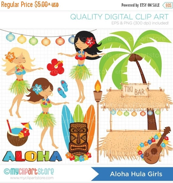 ON SALE - Aloha Hula Girls / Luau / Tiki Clip Art / Digital Clipart - Instant Download