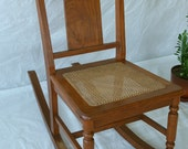 Vintage Wood Caned Rocking Chair