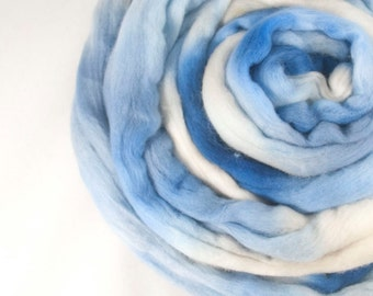 Merino Roving / Top, Blue and Brown 3.5oz/100gm