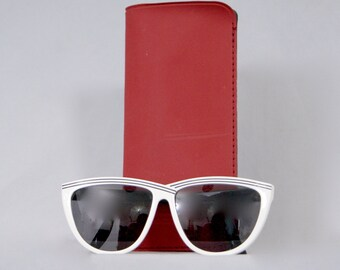 SAMCO by MAZZUCCHELLI Eyewear Vintage 1980s Italian Design Disco Era Monochrome Black & White Sunglasses Frame
