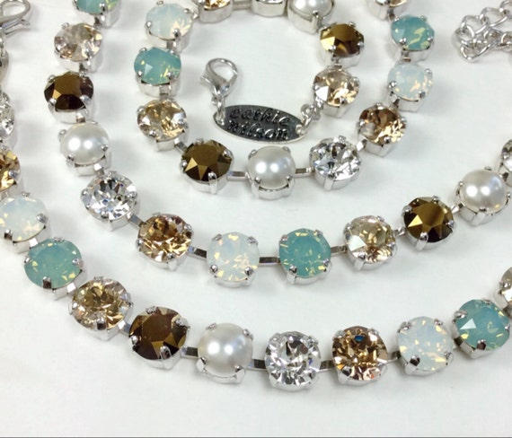 """Swarovski Crystal 8.5mm Necklace & Bracelet - Designer Inspired- """"Pacific Dream"""" - Pacific Opal, Creamy Pearls, Golden Hues - FREE SHIPPING"""