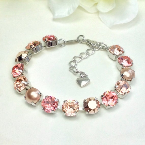 Swarovski Crystal 8.5mm Bracelet  -  Peachy, Rose Gold, Rose Gold Pearls - Gorgeous Bridesmaid Gift! -Designer Inspired - FREE SHIPPING