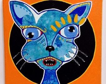 "Outsider Folk Art Cat Painting, ""Bug Eyed Cat"", Original Comical Ugly/Cute Cat Art, Outsider Art Cat, Outsider Cat by Windwalker Art"