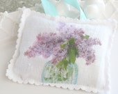 Vintage Linen, French Dried Lavender Sachet, Hand Stamped, Handmade, Drawer Freshener, Gifts for Her