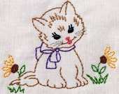 Vintage Kitty with Flowers Machine Embroidery Design 2 sizes, 4x4 or 5x7 vintage colorwork INSTANT DOWNLOAD. cat, girl, toddler
