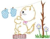 Vintage Little Kitten 3 washing/drying Mittens, Machine Embroidery Design 4x4 hoop, vintage colorwork linework, INSTANT DOWNLOAD