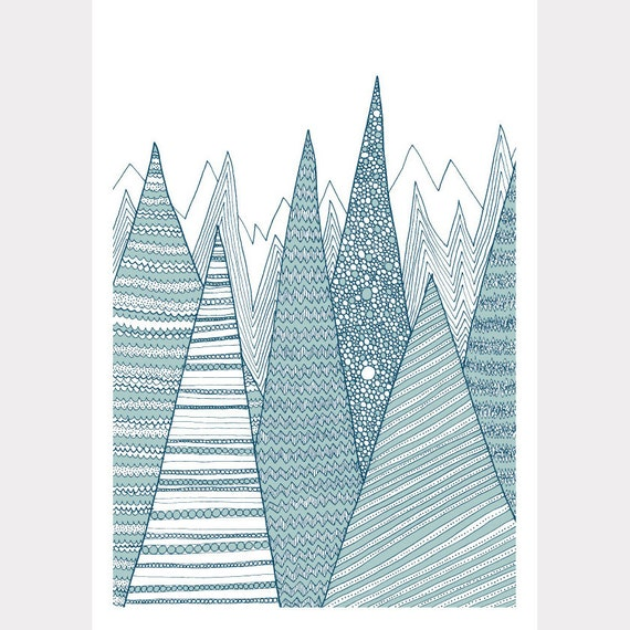 Last one! SALE / Mountains / A4 Giclee print / Art print / Illustration / Contemporary art