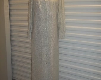 """Vintage 50's Gown Silver Lame Long Dress  """"Mad Men"""" Beautiful Desing w/ Belt  Free Shipping"""