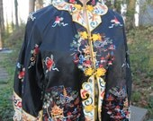 Silk Jacket Temple Jacket  1950's Very Colorful Embroidery on Black Silk Asian Coat Antique Textile