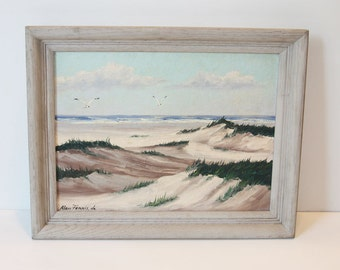 1947, Calming Beach Scene, Signed & Dated, Oil on Board, Original, Mid Century Frame, Excellent Condition,Ready to Hang