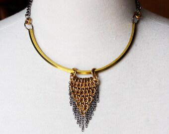 Triangle Raw Brass Chainmaille Statement Necklace, Gunmetal Chain, Industrial Edgy Style, Geometric