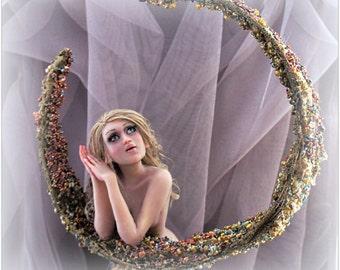 Mermaid Lifelike OOAK Art Doll Mermaid Oasis Miniature Sculpture Moon