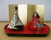A set of Hina  Doll with Vintage Kimono fabric,