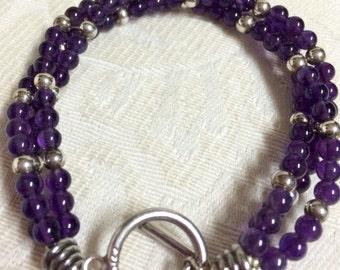 Amber's Vintage Amethyst Sterling Beaded Bracelet Beautiful Purple Stones