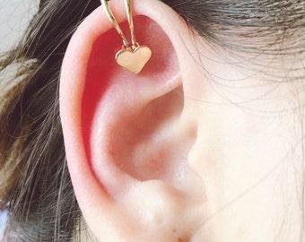 Small silver or gold heart ear cuff wrap non piercing