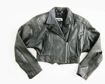 Cropped Leather Jacket / Black Leather Moto Jacket / Womens Leather Jacket