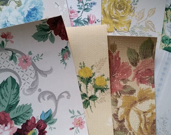 Beautiful Vintage Wallpaper Scrap Pack | Roses | Floral Paper Pack | Samples