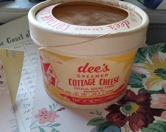 Antique Dee's Creamed Cottage Cheese Unused Container