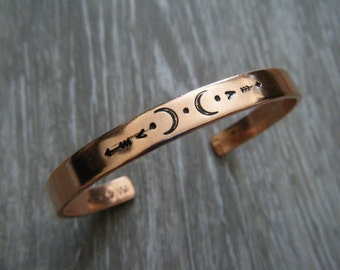Explorer // Copper Bangle Bracelet ~NEW DESIGN~ , Moon Bracelet, Bohemian Jewelry